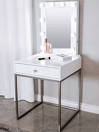 Glamstation Makeup Vanity And Lighted Mirror Set, 10 Dimmable LED Lights, White with Your Choice of Gold or Silver Legs, Large Top for Accessories And Drawer for Storage
