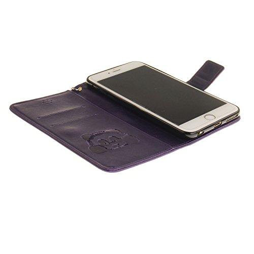 Für Apple iPhone 6 Plus (5,5 Zoll) Tasche ZeWoo® Ledertasche Kunstleder Brieftasche Hülle PU Leder Schutzhülle Case Cover - TX027 / Panda (lila)