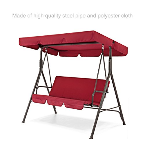 (koonlert14 Porch Patio 3 Person Swing Hammock Cushion Seat Sturdy Powder-Coated Finish Steel Frame W/Canopy Top Outdoor Decor Furniture - Burgundy #1911)