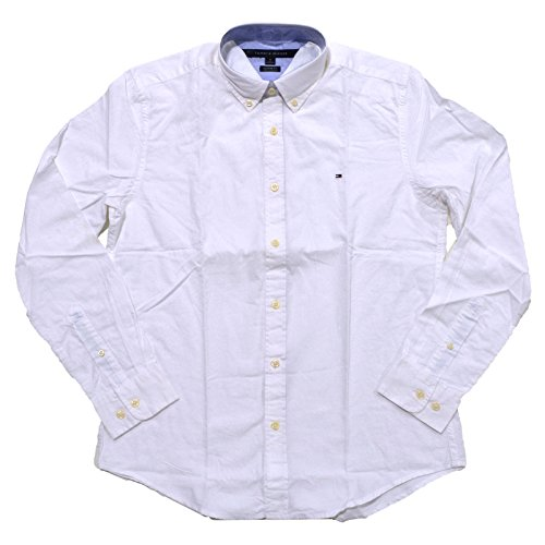 Tommy Hilfiger Mens Custom Fit Long Sleeve Buttondown Shirt (White, - Down Tommy Button Shirt Hilfiger