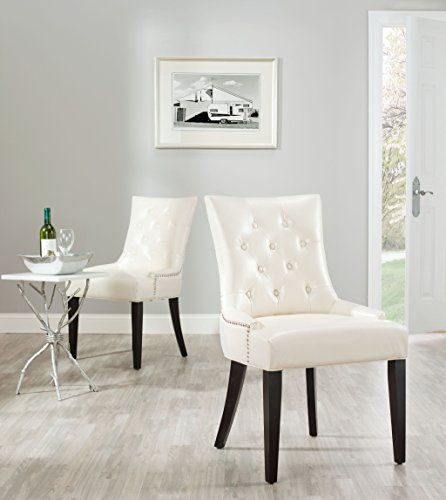Safavieh Mercer Collection Heather Cream Leather Nailhead Dining Chair, Set of 2 (Leather Cream Chairs Kitchen)