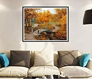 3D Cross Stitch Square Diamond Autumn Scenic Diy Diamond Painting Kit Diamond Mosaic Crafts