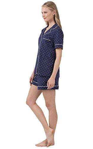 PajamaGram So-Soft Pin Dot Womens Pajamas - 2 Piece PJ Set, Navy, Medium 8-10 by PajamaGram (Image #3)