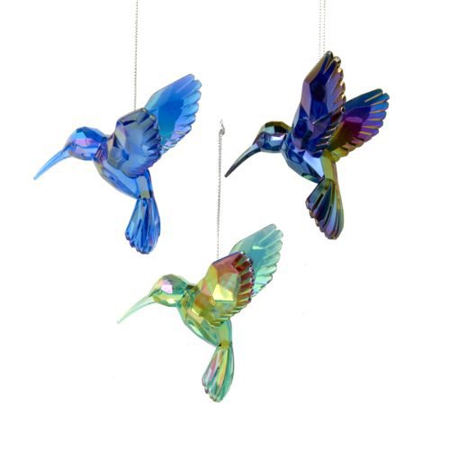 Acrylic Glass Hummingbird Christmas Tree Ornaments, 4-Inch, 3-Piece (Blue)
