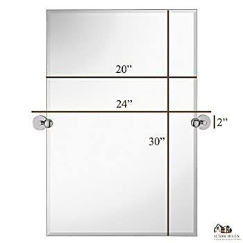 """Hamilton Hills Large Pivot Rectangle Mirror with Polished Chrome Wall Anchors 