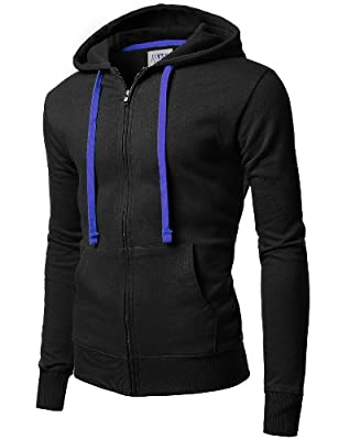 Doublju Super Slim Contrast Drawstring Color Athletic Zip-Up Hoodie