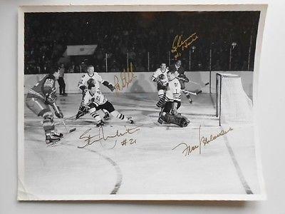 Mahovlich, Glen Hall, Makita, Stapleton NHL original photo signed 8x10 w/COA ()