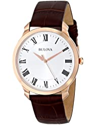 Bulova Mens 97A107 Gold-Tone Stainless Steel Watch with Brown Leather Strap