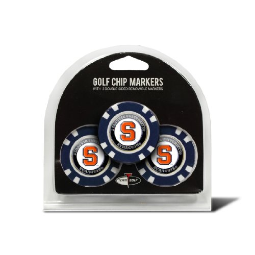 Syracuse Golf Balls - Team Golf NCAA Syracuse Orange Golf Chip Ball Markers (3 Count), Poker Chip Size with Pop Out Smaller Double-Sided Enamel Markers