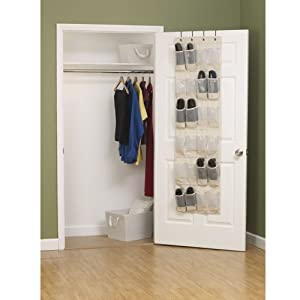Household Essentials 3382-1 Cotton Canvas Over the Door Shoe Organizer | 24-Pocket | Natural