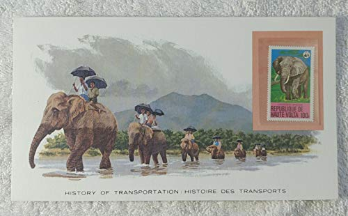 - The Elephant - Postage Stamp (Republic of Upper Volta (Burkina Faso), 1979) & Art Panel - The History of Transportation - Franklin Mint (Limited Edition, 1986) - African Elephant