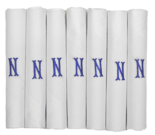 ETHO 7 Pack Of Mens Handkerchiefs With Blue Embroidered Initials, N