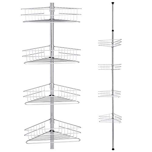 Yescom 4 Tier Metal Bathroom Telescopic Corner Shower Shelf Caddy Pole Wall Rack Storage Organizer Soap Holder Silver ()