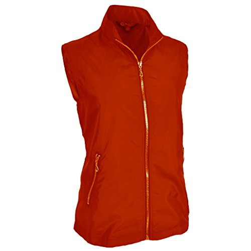Monterey Club Ladies Lightweight Mini Plaid Zip-up Vest #2791 (Lipstick Red, Large)