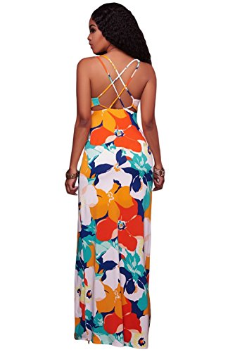 La vogue Damen Sommerkleid Trägerkleid Blumen Stil Maxikleid Backless Strandkleid