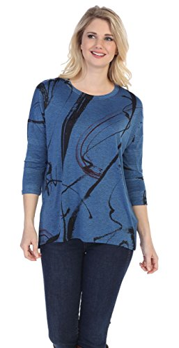 Jess & Jane Women's Matilda Slinky Knit Side Slit Tunic Top (XL, Blue)