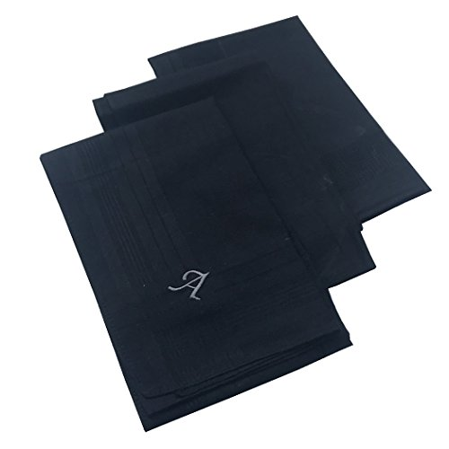 OWM Handkerchief Pack of 3 Cotton Embroidered Initial Monogram Handkerchief Men (A, Black) by OWM