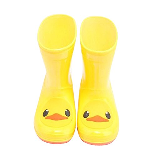 Cute Starry Kids' Rain Boots Yellow Duck Children Rainy Days Shoes (Best Panda Superstore Rain Boots)