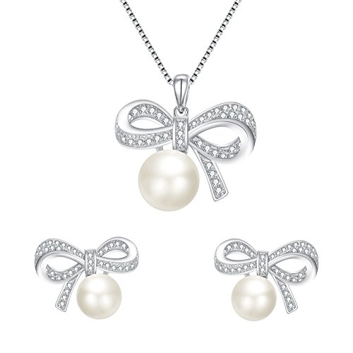BriLove 925 Sterling Silver CZ Freshwater Cultured Pearl Necklace Earrings Jewelry Set for Women Bow-Tie Pendant Necklace Stud Earrings Set Clear