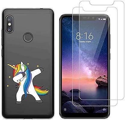 Funda Xiaomi Redmi Note 6 Pro Unicornio de Pelo Largo Suave TPU Silicona Protector Trasero Carcasa para Xiaomi Redmi Note 6 Pro (6,26 Pulgada) con Dos ...
