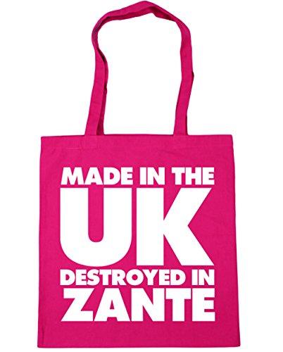 HippoWarehouse hergestellt in Großbritannien Zerstört in Zakynthos Einkaufstasche Fitnessstudio Strandtasche 42cm x38cm, 10 liter - Fuchsia, One size