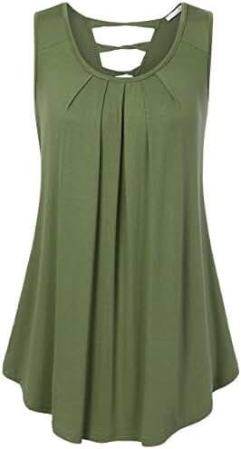Messic Womens Sleeveless Shirts Scoop Neck Pleats A Line Criss-Cross Back Tank Tops
