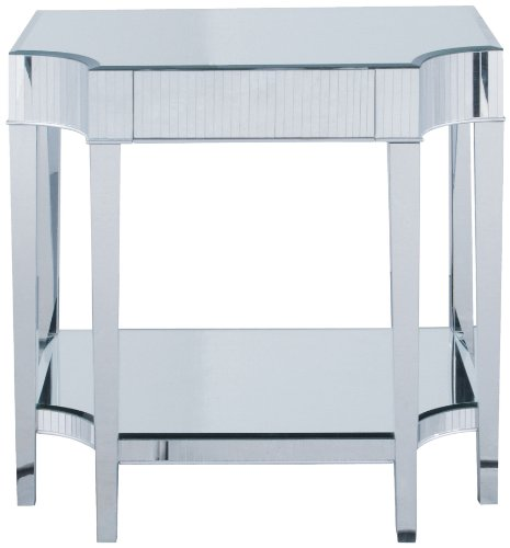 Sterling 6041162 Cinema Contemporary Asian Hardwood Side Table with Beveled Mirror Top, 28-Inch, Acrylic by Sterling
