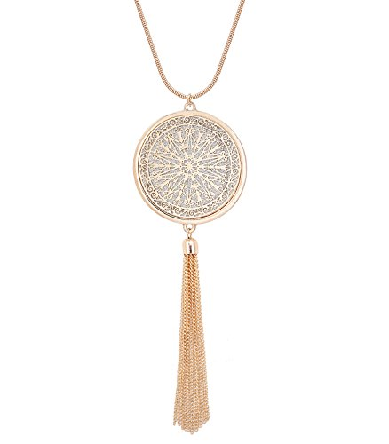 (MOLOCH Long Necklaces for Woman Disk Circle Pendant Necklaces Tassel Fringe Necklace Set Statement Pendant (Gold))