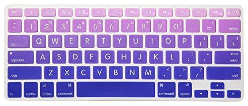 HRH Silicone Keyboard Cover Skin for MacBook Air 13,MacBook Pro 13/15/17 (with or w/Out Retina Display, 2015 or Older Version)&Older iMac USA Layout,Big Font Ombre Purple