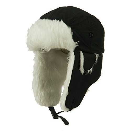 Faux Fur Aviator Trooper Hat - Black White S-M