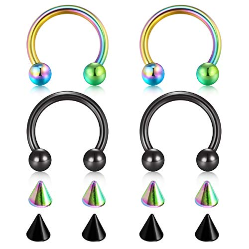 - D.Bella 18G Surgical Steel Nose Septum Horseshoe Hoop Eyebrow Lip Navel Belly Nipple Piercing Ring 10mm Helix Tragus Daith Rook Earrings w Replacement Spikes