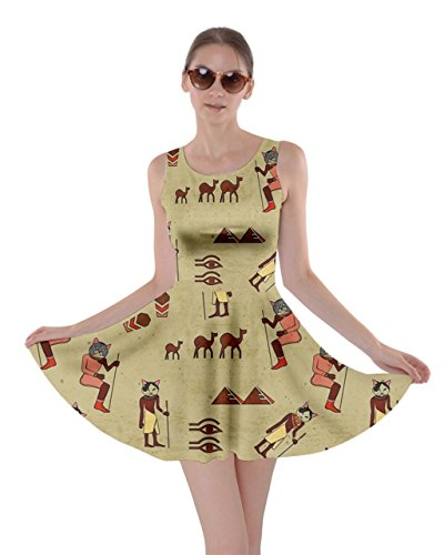 CowCow Womens Egypt Cat Retro Skater Dress, Egypt - 2XL