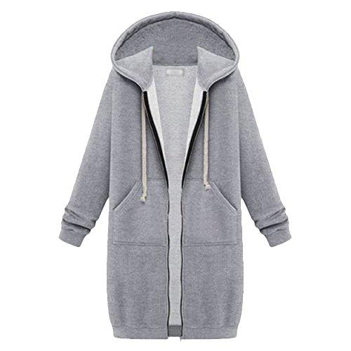 Jacket Wind College Pullover (Annystore Women Winter Coat Plain Color Zip up Fleece Long Hoodie Sweatshirt Jacket Coat With Pockets Grey 3XL)