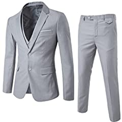 Men's Suits Slim Fit Solid 3-Piece Suit Blazer Two Button Formal Tuxedo Business Wedding Party Jacket Pants Vest Set Blazers. Please order one size large than normal if you are not very slim; Please refer the size to the size chart image abov...