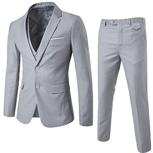 WEEN CHARM Mens Suits 2 Button Slim Fit 3 Pieces Suit Light Grey