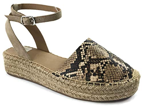 Womens Ankle Wrap Espadrille Flat D'Orsay Sandal, Snake, 6