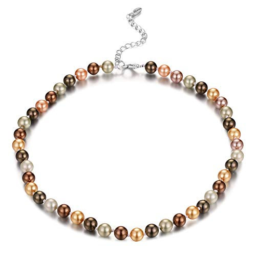 Bulinlin Beaded Strand Pearl Choker Necklace - Fashion Jewelry Birthday Gifts for Women Girls (13-8mm Brown) ()