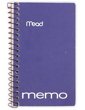 (6 PK Mead Memo Book, College Ruled, 5 x 3 Inches, Wirebound, Assorted (45534))