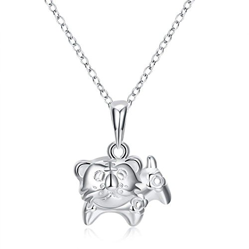 Zhiwen 925 Sterling Silver Chinese Zodiac Amulet Pendant Necklace Various Animals, Men and Women Charm Necklace Gifts (Tiger)