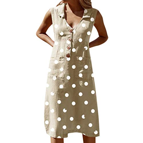 Londony❀♪ Women Summer Pleated Polka Dot Pocket Loose Swing Casual Midi Dress Boho Sleeveless V Neck Swing Dress Khaki
