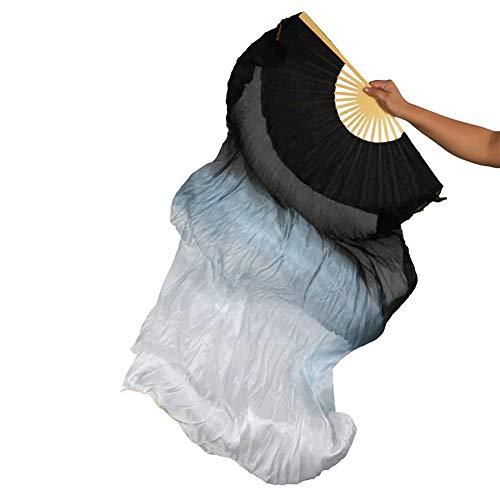 Yizhiwu Women 1 Pair(Left+Right) 18090 cm Belly Dance Fan Veil Silk (Black White) (Silk Fans)