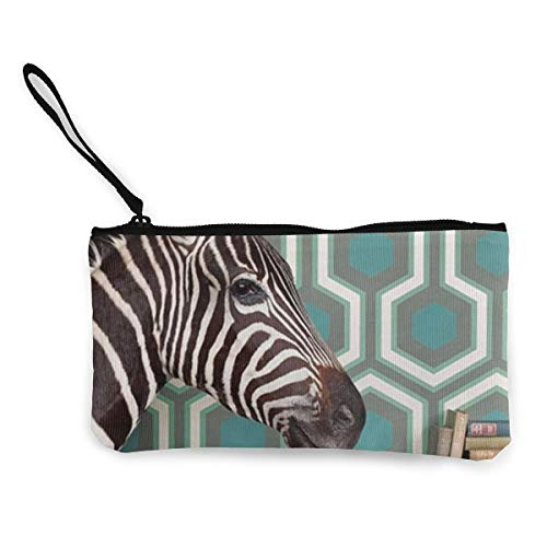 Terany Canvas Pencil Case - Zebra Durable Cosmetic Makeup Bag Zipper Closure Coin Purse Wallet Phone Pouch with Handle for Women Kids Adults]()