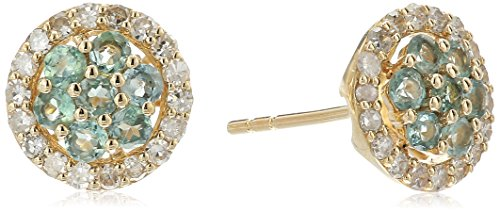 14k Yellow Gold Alexandrite And Diamond Stud Earrings 1 4 cttw, H-I Color, I1-I2 Clarity