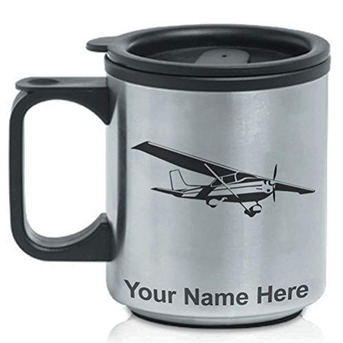 Coffee Travel Mug, High Wing Airplane, Personalized Engraving Included (High Wing Airplane)