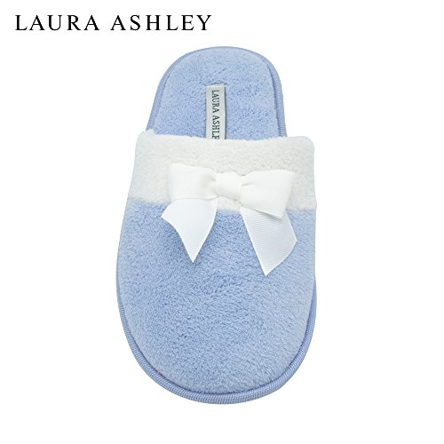 Laura Ashley Ladies Terry Scuff Slipper With Bow (See More Colors & Sizes) Blue UNdyMIkh8