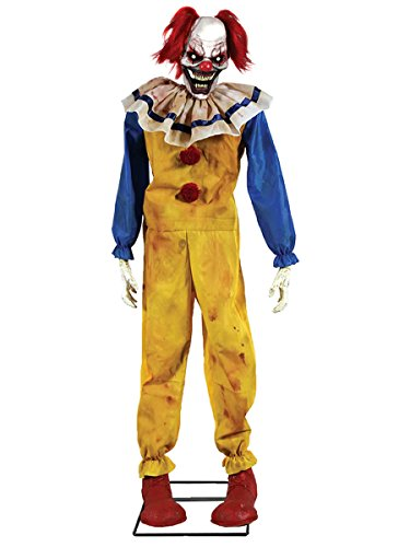 [Twitching Clown Animated Halloween Prop Animated Lifesize Poseable Haunted House] (Halloween Animatronics)