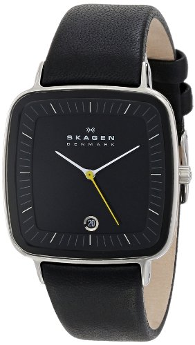 Skagen Men's H04LSLB Hiro Quartz 3 Hand Date Stainless Steel Black Watch