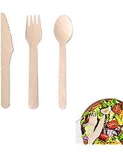 300 stycken miljövänliga engångsbestick, biologiskt nedbrytbara engångsbestick, engångs träbestickset, robust, komposterbar, för bröllop, picknick, fest, kontor (100 x varje gaffel, skedar, kniv)