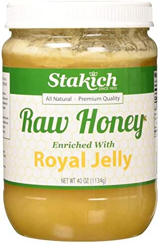 Stakich ROYAL JELLY Enriched RAW HONEY - 100% Pure, Unprocessed, Unheated - 40 oz
