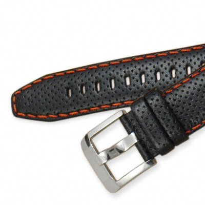 Seiko Sportura Leather Band (15mm, Black, Orange Stitching, 4KG1JZ)